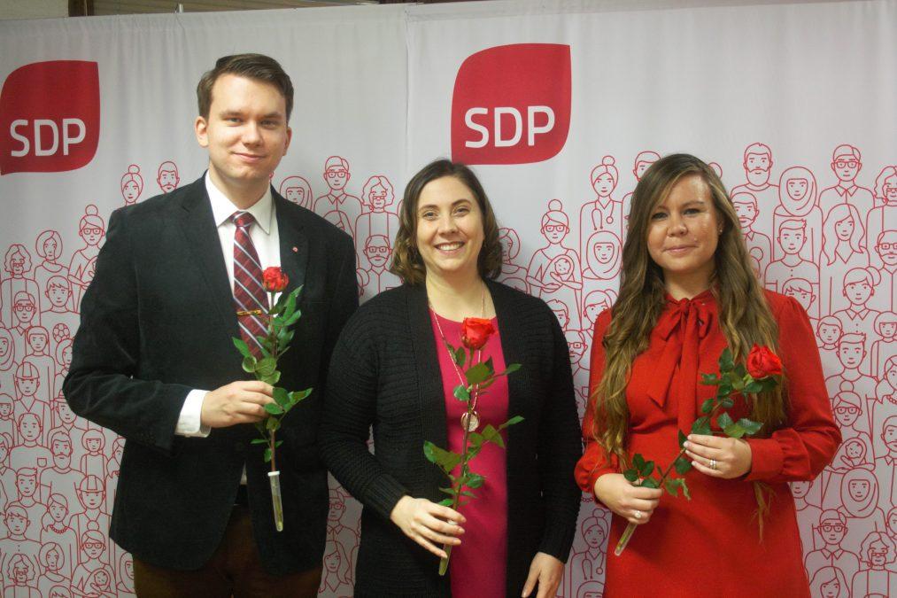 FSD:s nya presidium. Fr.v. Jacob Storbjörk, Anette Karlsson och Erica Helin